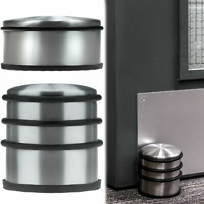 Round Chrome Metal Door Stopper Stop Rubber Floor Protector Heavy Weight Duty