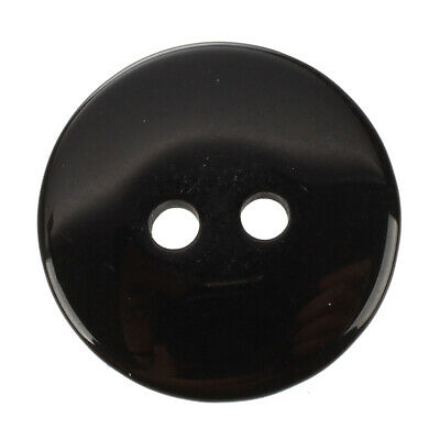 Rounded Plastic 2 Holes Sewing Clothing Buttons Black 12 Pcs E7U5