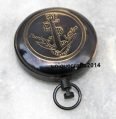 Black Antique Brass Nautical Push Button Compass Working Navy Reproduction .
