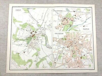 1890 Antique Map of Warwick Buxton Cheltenham Town Plan 19th Century Original