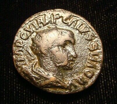 VOLUSIAN. 251-253. AE 22. ANTIOCH mint. Legionary eagle between two standards.