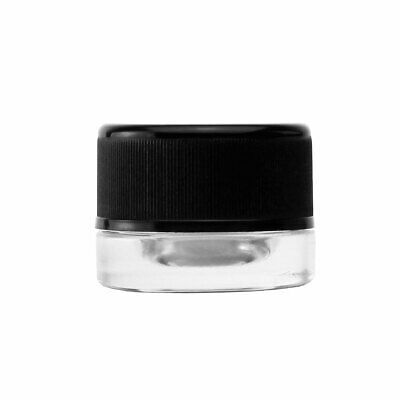 5ML Child Resistant Clear Glass Concentrate Container – Black Cap – (50 qty.)
