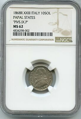 1868-R XXIII Italy 10 Soldi Papal States NGC MS62 PIVS.IX.P Silver Coin JC480