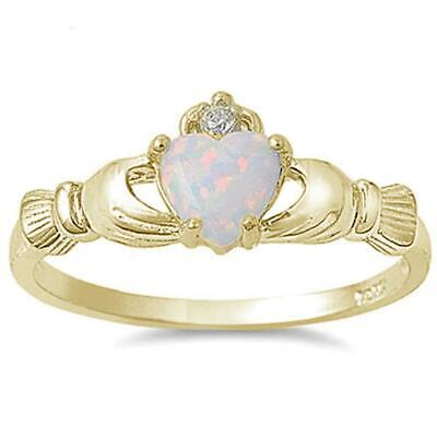 Yellow Gold Plated White Opal Claddagh .925 Sterling Silver Ring