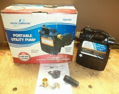 Pacific Hydrostar Portable Utility Pump 65836 1500 GPH 25 GPM 800W Cast Iron