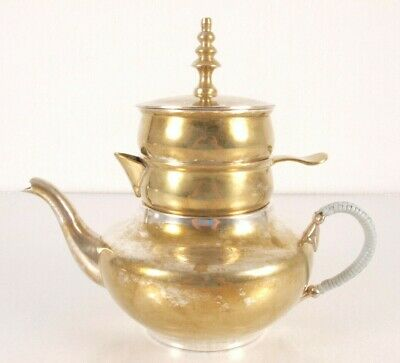 Godinger Stacking Teapot Heavy Silver Plated Pot Creamer Sugar Lid Wrapped Hand