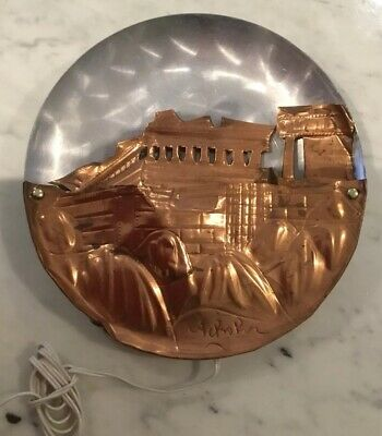 Lovely Vintage Decorative Acropolis Light Plate Greek Souvenir Copper