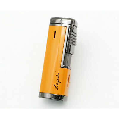 Four Torch Jet Flame Metal Yellow Cigar Cigarette Lighter With Punch For COHIBA