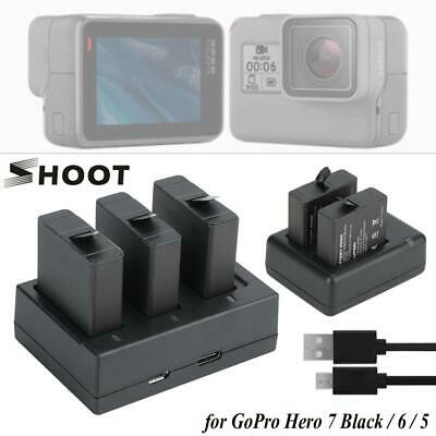Shoot Gopro 5 2/3 Battery 2/3 Slot Charger for Hero 7 Black/6/5 Action Camera CM