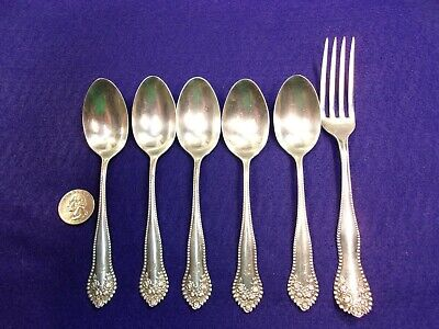 Beautiful Partial Set Of Vtg Antique British Sterling Silver Spoons & Fork, Mono