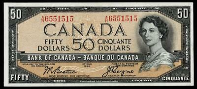 1954 $50 Dollar Banknote Bank Of Canada~~About Uncirculated