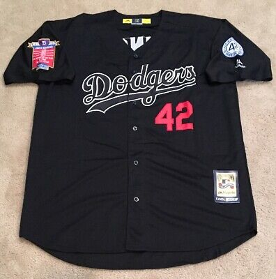 info for 5cfd1 20081 JACKIE ROBINSON LOS Angeles Dodgers BLACK Jersey Mens XL NEW w 42 Patch  Brooklyn