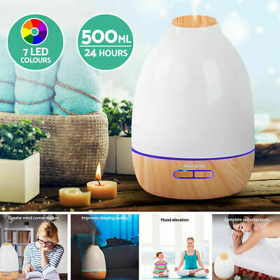 500ml LED Essential Oil Aroma Aromatherapy Air Humidifier Mist Purifier Diffuser