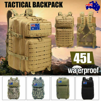Men Military Tactical Backpack Camping Cycling Hiking Travel 45L Large Sport Bag