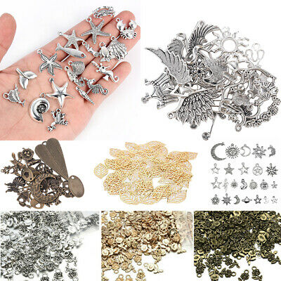 50pcs Vinatge Silver Bronze Metal Charms Spacer Beads Wholesale Jewelry Making