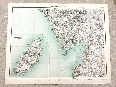 1890 Antique Map of The Isle of Man Morcombe Lancashire 19th Century Original