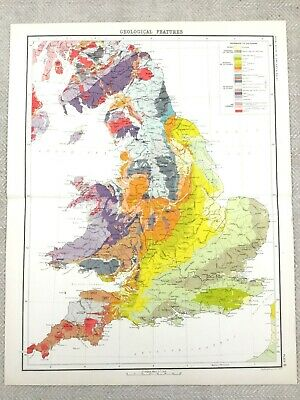 1890 Antique Geological  Map of England Victorian Geology 19th Century Original
