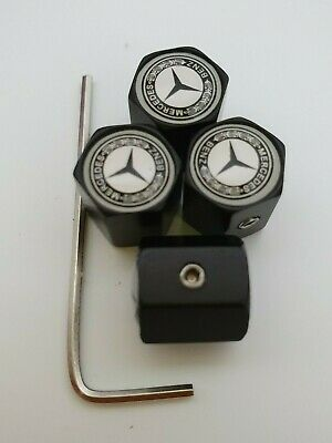 MERCEDES BENZ Matte BLK DUST VALVE CAPS Anti Theft Prevents Theft more Col SLK