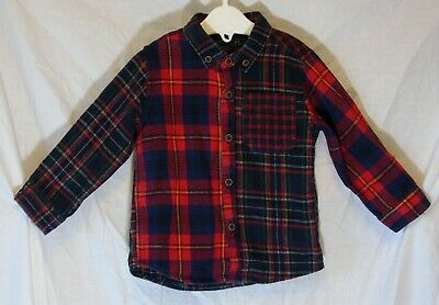 Baby Boys Next Red Blue Green Tartan Check Long Sleeve Shirt Age 12-18 Months