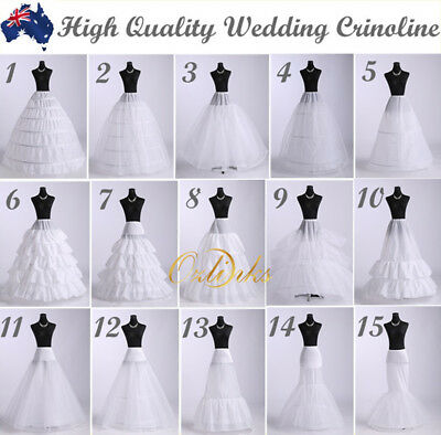 WHITE WEDDING DRESS BRIDAL  PETTICOAT UNDERSKIRT SKIRT CRINOLINE 15 Styles
