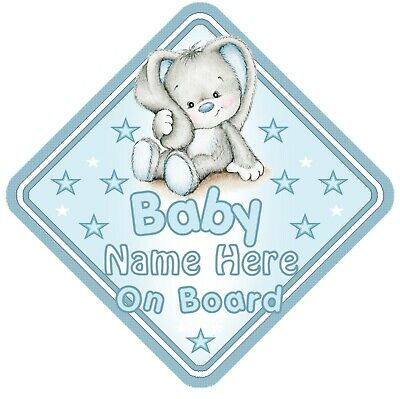 Rabbit Baby On Board Car Window Sign Personalised - Blue Boy