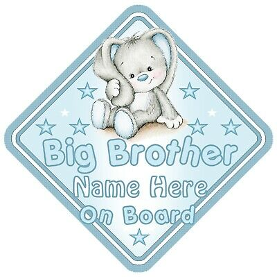 Big Brother On Board Car Window Sign Personalised Rabbit - Blue Boy