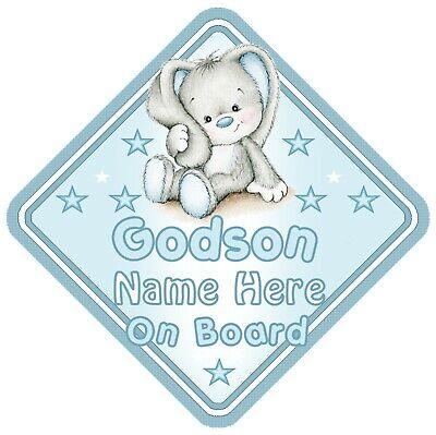 Godson On Board Car Window Sign Personalised Rabbit - Blue Boy