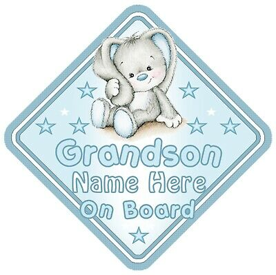 Grandson On Board Car Window Sign Personalised Rabbit - Blue Boy