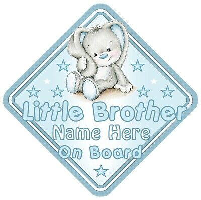 Little Brother On Board Car Window Sign Personalised Rabbit - Blue Boy