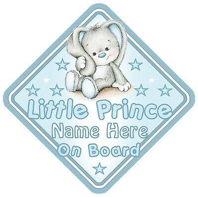 Little Prince On Board Car Window Sign Personalised Rabbit - Blue Boy