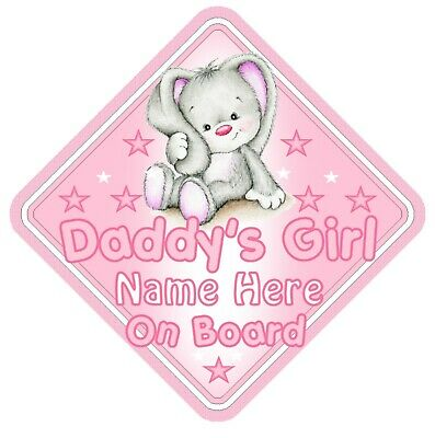 Daddy's Girl On Board Car Window Sign Personalised - Rabbit Pink