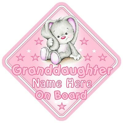 Granddaughter On Board Car Window Sign Personalised - Rabbit Pink
