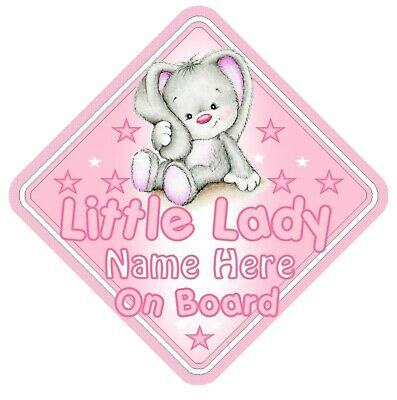 Little Lady On Board Car Window Sign Personalised - Rabbit Pink