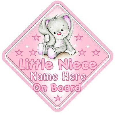 Little Niece On Board Car Window Sign Personalised - Rabbit Pink