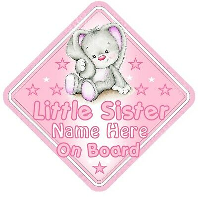 Little Sister On Board Car Window Sign Personalised - Rabbit Pink