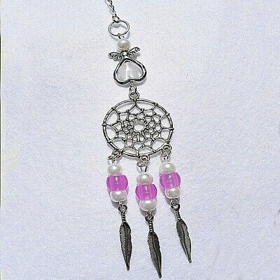 Guardian Angel Dream Catcher UV Pink Beads Rear View Car Mirror Charm Gift