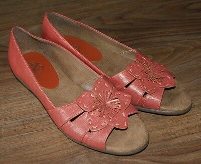 e2f5f8b96 A2 By Aerosoles Open Toe Slip On Shoes Pink Leather Floral Womens Size 7