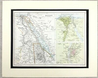 1899 Antique Map of Egypt Cairo Egyptian Territory State 19th Century Original