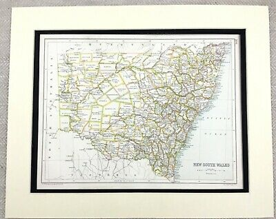 1899 Antique Map of New South Wales Australia Old 19th Century Original