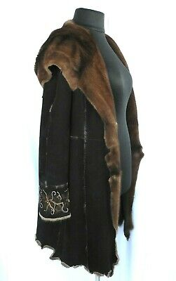 Brown Mink Fur Black Suede Double Side Reversible Hooded Coat M L Skin on Skin