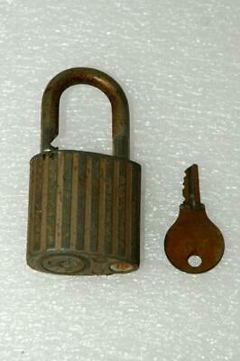 Antique Vintage Eagle Padlock & Key Vertical Stripe Teardrop Cross Section