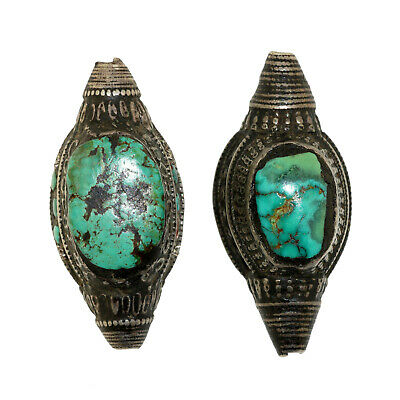 (2547) Couple of Antique element of headdress Ladakh/Tibet. Turquoise and silver