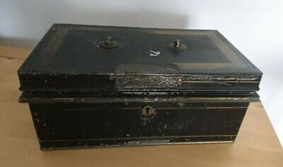 Large Heavy Old Vintage Cash Box Black 31Cm 18Cm 12Cm Tin Antique Compartments