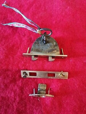 Higher quality lock, plate and key for vintage or antique writing slope. Brass.