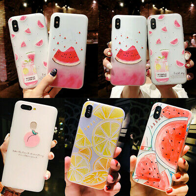 For iPhone X 8 6s 7 Plus Cute Fruit Pattern Slim Relief Matte Protect Case Cover