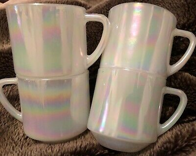 Vintage  Fire King pearl lustre mugs x 4 ANCHOR HOCKING.  Hard To Find