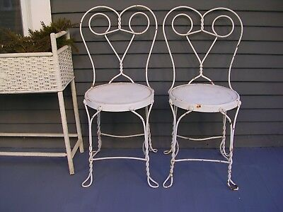 2 Ice Cream Parlor Chairs Wrought Iron Bistro Style.WERE PAINTED 40 years ago