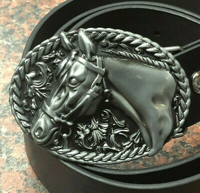 HORSE metal BUCKLE + Free Belt silver Equestrian western oval riding cowboy NEW