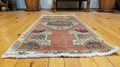 "Antique Distressed Turkish Tribal Rug 1'5"" × 3'1"""