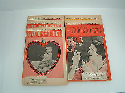 vintage 6 magazine lot the workbasket 1963 - 1964 old patterns, recipes, ads